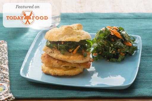 Chicken & Buttermilk Biscuit Sandwiches with Shredded Collard Green & Carrot Slaw