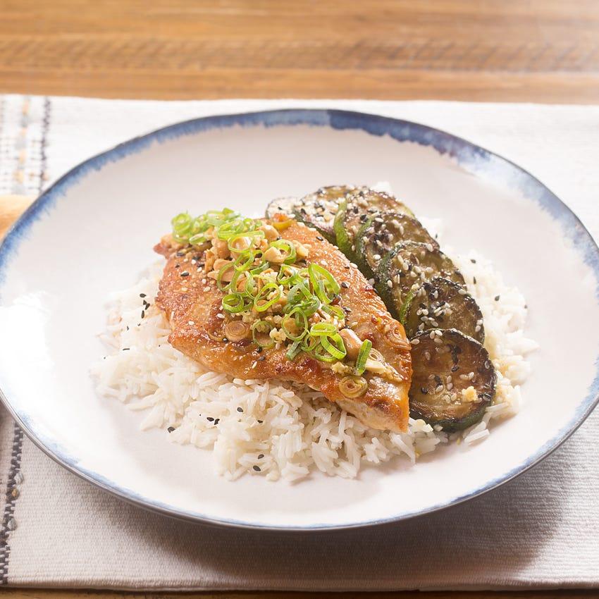 Spicy Ponzu-Glazed Catfish with Zucchini, Garlic Rice & Ginger Peanuts