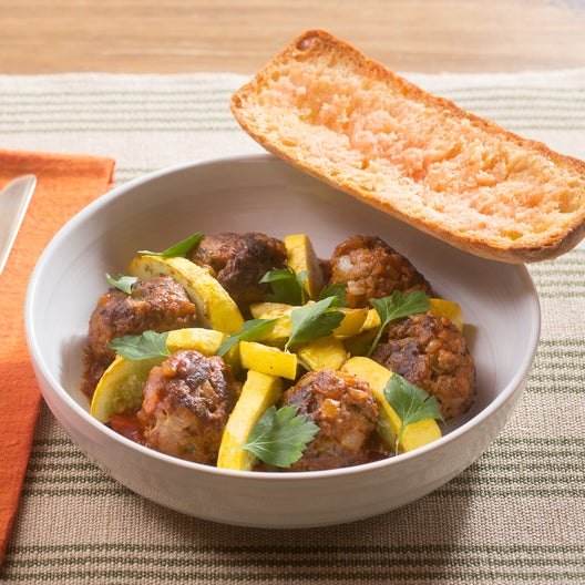 Beef Albondigas with Sautéed Summer Squash & Pan Con Tomate