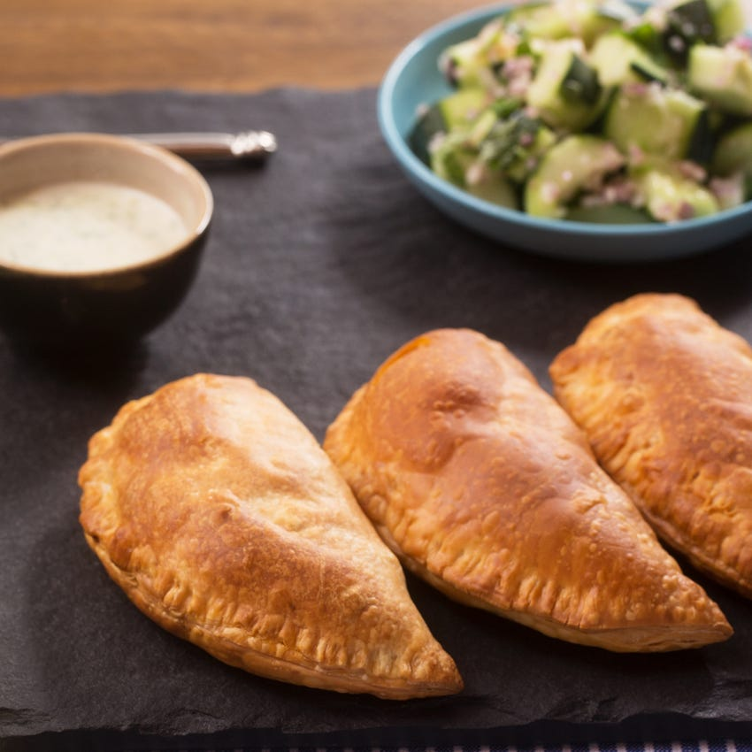 Corn & Green Bean Empanadas with Cucumber Salad & Creamy Ajo Dipping Sauce