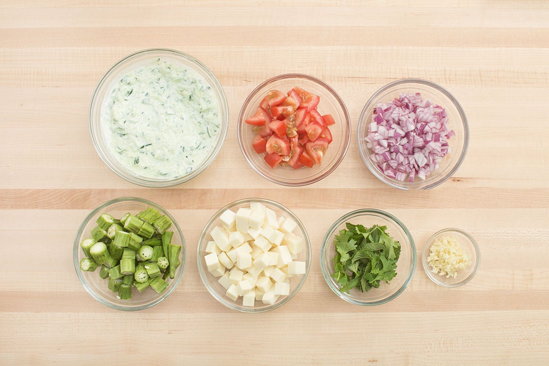 Prepare the ingredients & make the raita: