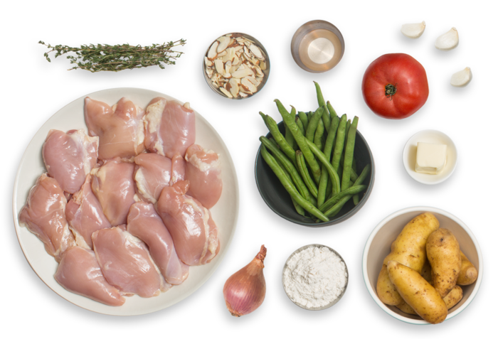 Provençal Seared Chicken with Fingerling Potatoes, Green Beans & Almonds
