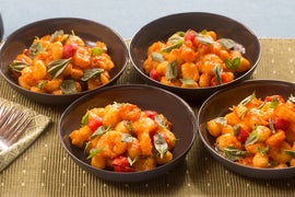 Saffron Shrimp & Gnocchi with Cherry Tomatoes & Basil