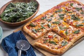 Summer Vegetable Pizza with Garlic-Lemon Broccolini