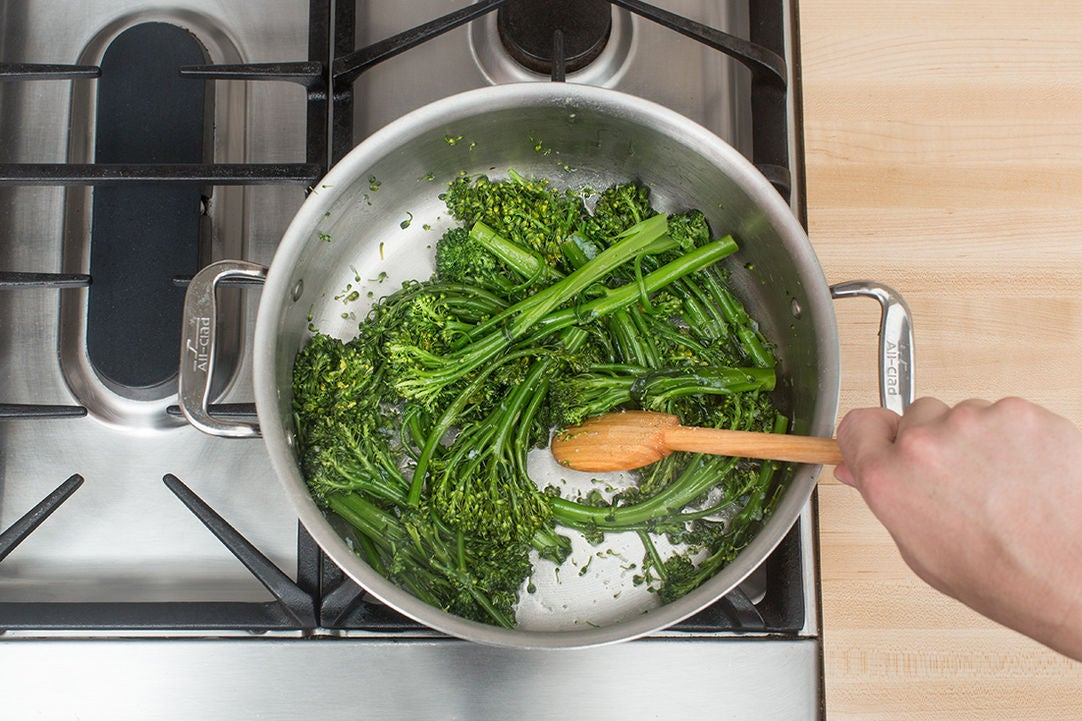 Cook the broccolini & serve your dish: