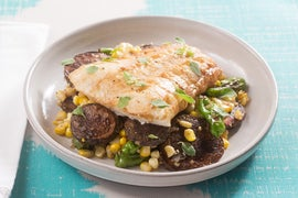 Brown Butter Cod with Corn, Shishito Peppers & Purple Potatoes