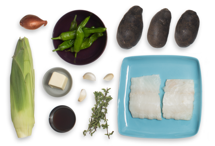 Brown Butter Cod with Corn, Shishito Peppers & Purple Potatoes ingredients
