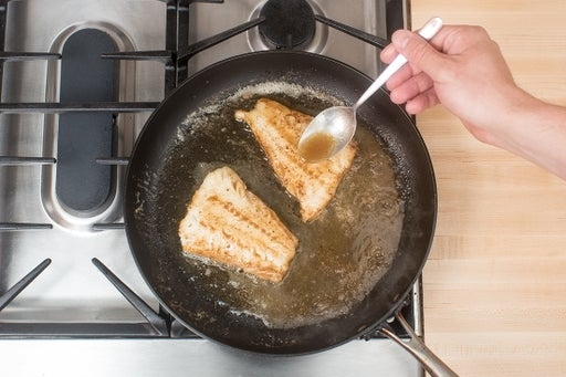 Cook the cod & make the brown butter sauce:
