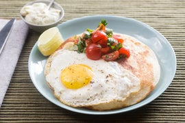 Tinkerbell Pepper Quesadillas with Cherry Tomato Salsa, Lime Crema & Sunny Side-Up Eggs