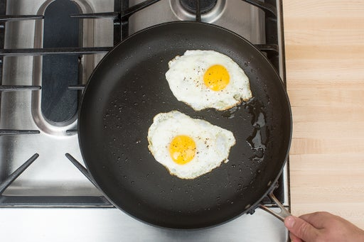 Fry the eggs & plate your dish: