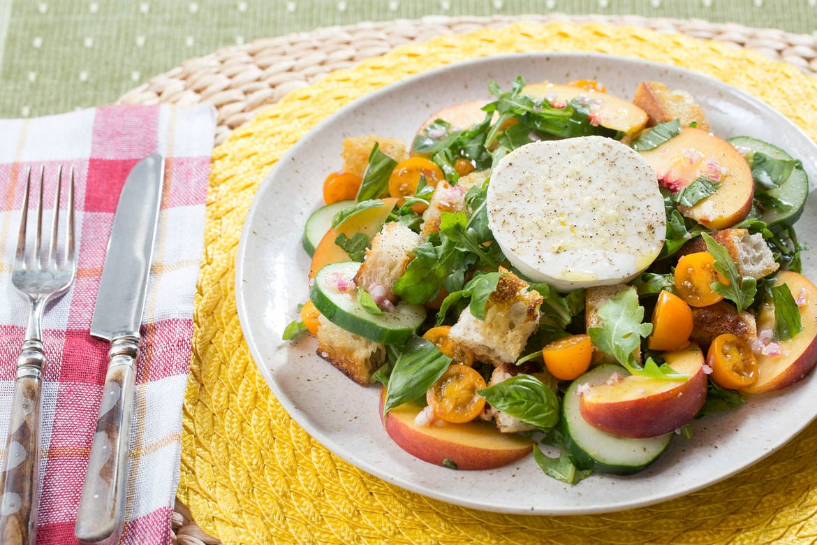 Cherry Tomato & Peach Panzanella with Fresh Mozzarella, Arugula & Basil
