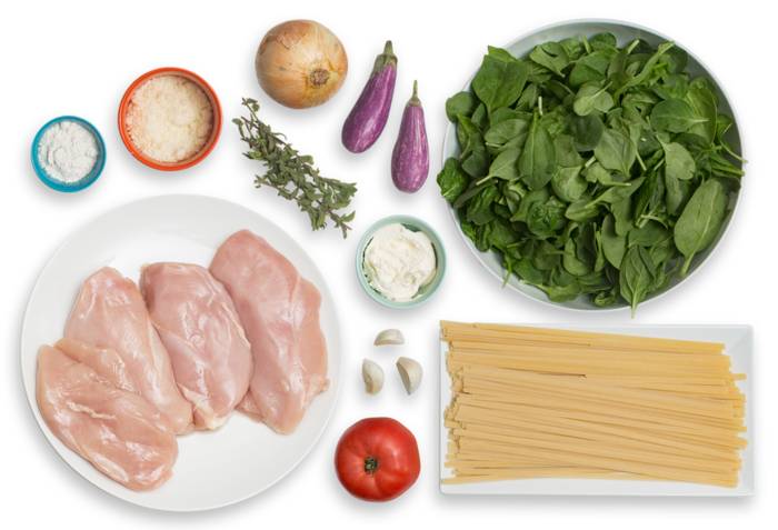 Seared Chicken & Fettuccine Pasta with Fairy Tale Eggplant & Fresh Tomato Sauce ingredients