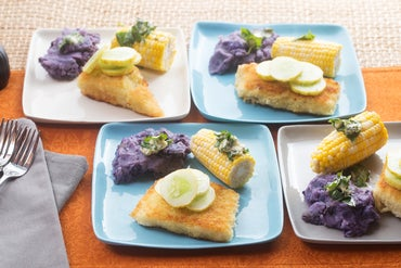 Crispy Cod & Roasted Corn on the Cob with Mashed Purple Potatoes, Marinated Cucumbers & Basil Butter