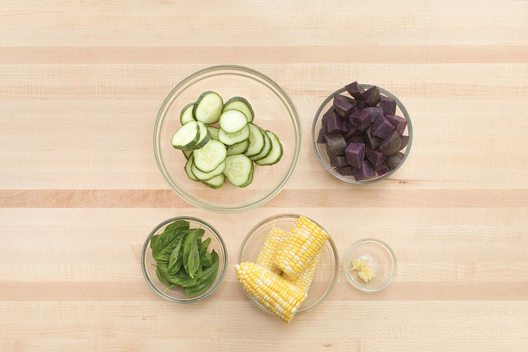Prepare the ingredients & marinate the cucumbers:
