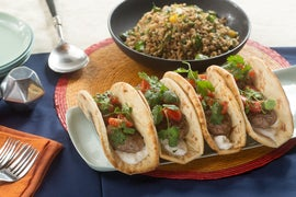 Moroccan Lamb & Beef Pitas with Green Patty Pan Squash & Farro Salad