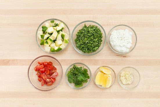Prepare the ingredients & make the yogurt sauce: