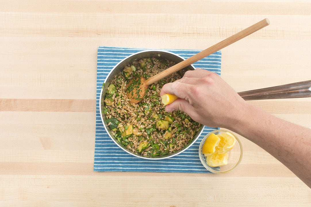 Finish the farro salad & serve your dish: