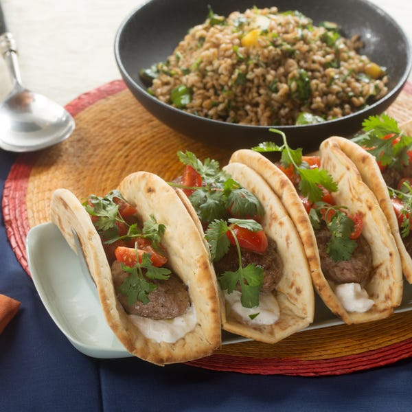Moroccan Lamb & Beef Pitas with Green Patty Pan Squash & Farro Salad