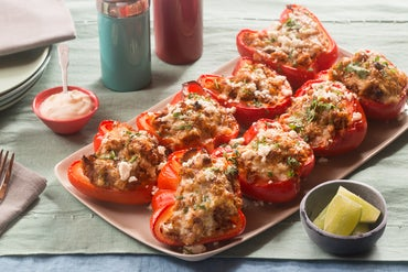 Cheesy Stuffed Peppers with Queso Fresco, Monterey Jack & Mexican Crema