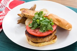 Lemongrass Chicken Burgers with Hoisin Mayo & Roasted Potato Wedges