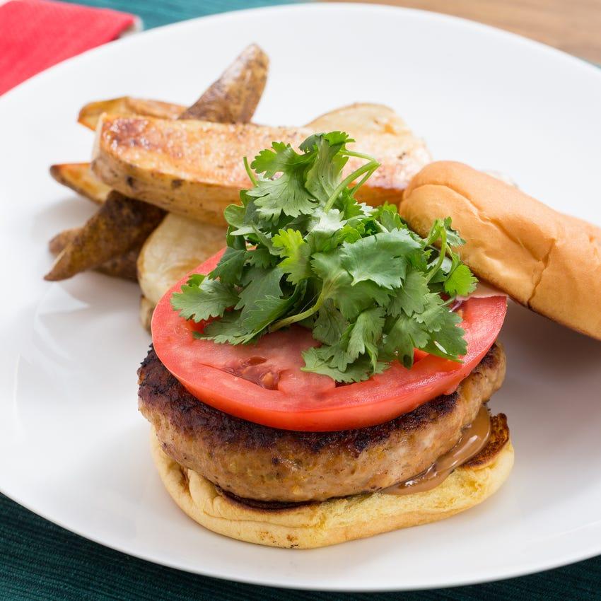 Lemongrass Chicken Burgers with Hoisin Mayo & Roasted Potato Wedges