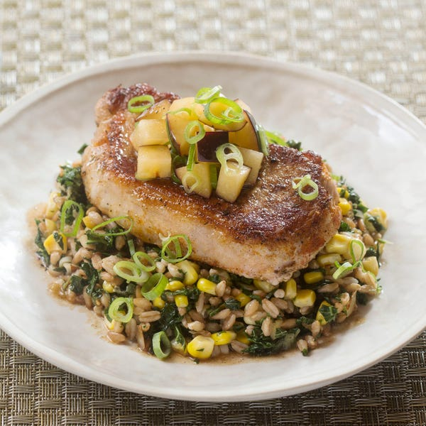 Seared Pork Chops & Plum Salsa with Corn, Kale & Farro Salad