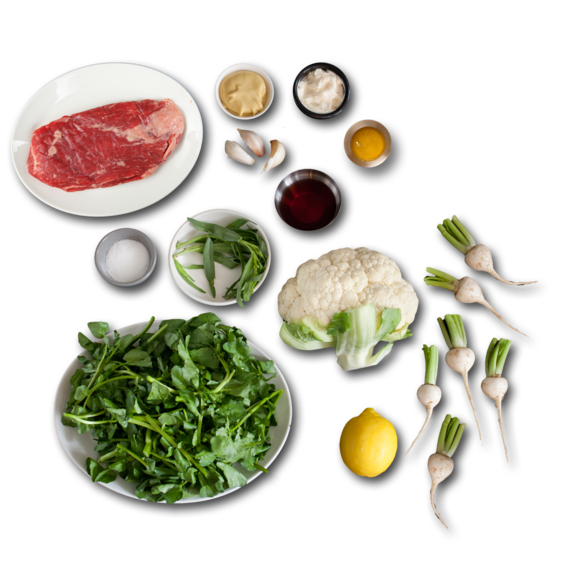 Flank Steak au Jus with Creamy Dijon Cauliflower, Pickled Baby Turnips & Watercress ingredients