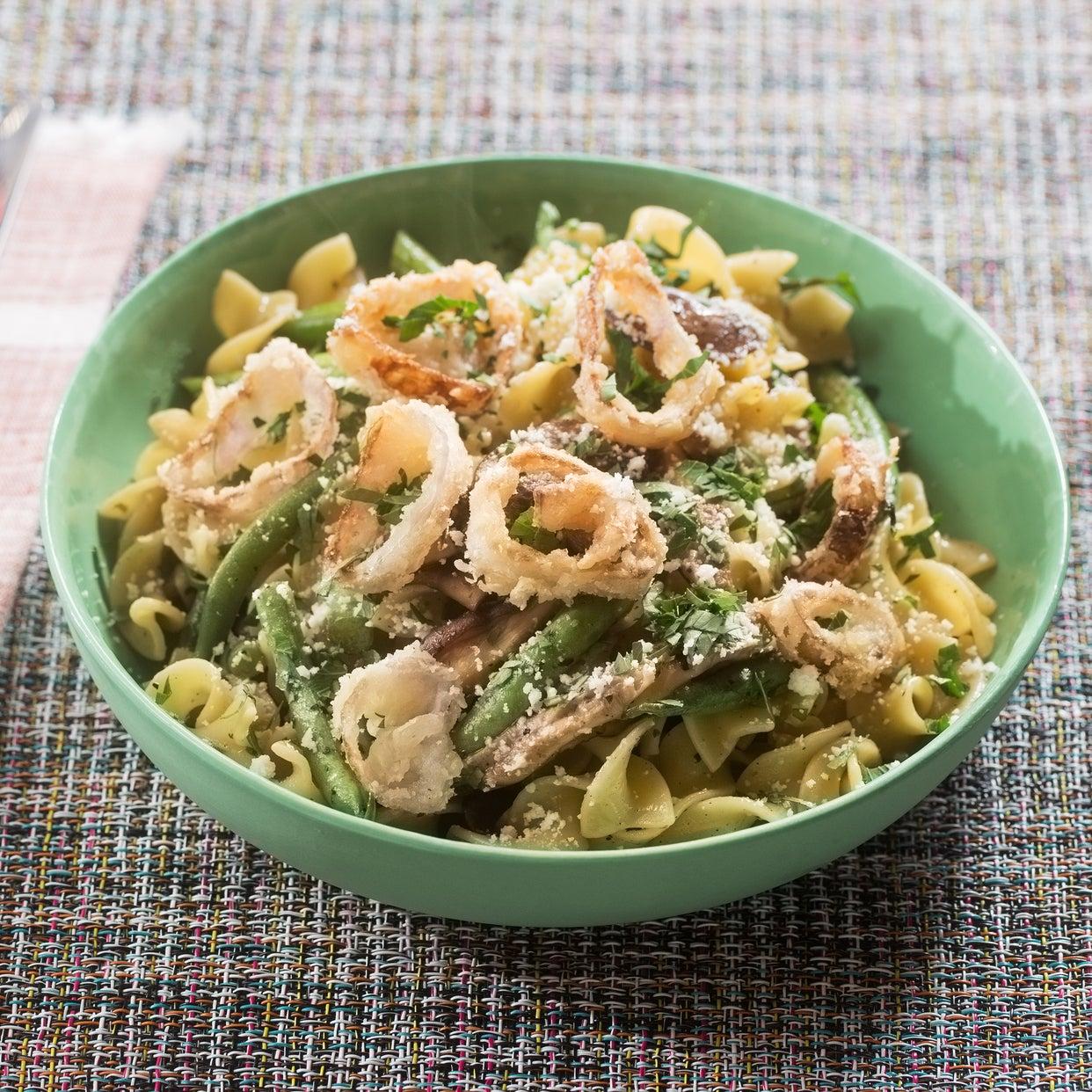 Cremini & Shiitake Mushroom Pasta with Summer Beans & Crispy Shallot Rings