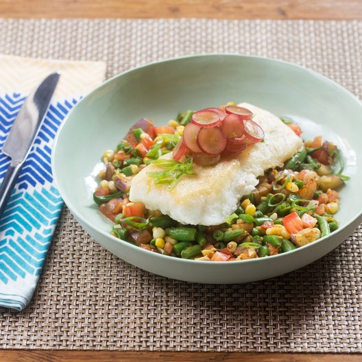 Seared Cod & Summer Succotash with Fairy Tale Eggplant & Pickled Grapes