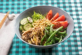 Chilled Chicken Ramen with Fresh Noodles, Summer Beans & Tomato