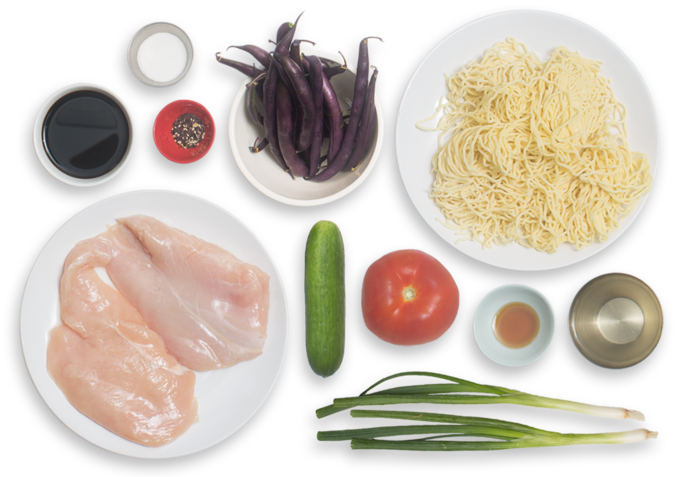 Chilled Chicken Ramen with Fresh Noodles, Summer Beans & Tomato ingredients
