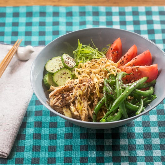 Chilled Chicken Ramen with Fresh Noodles, Summer Beans & Tomato