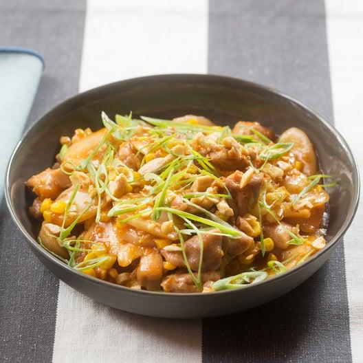 Spicy Chicken & Korean Rice Cakes with Sweet Corn, Shiitake Mushrooms & Ginger Cashews