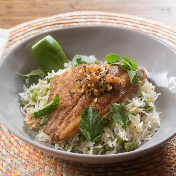 Curried Catfish & Coconut Rice with Green Beans & Golden Raisin Chutney