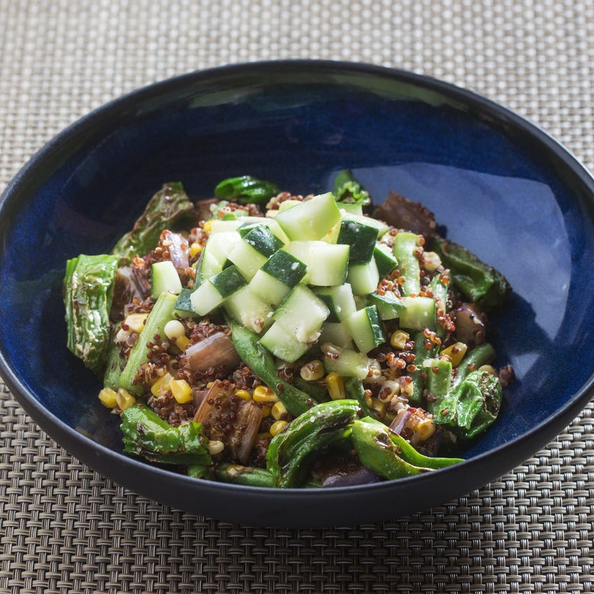 Summer Vegetable & Quinoa Bowls with Fairy Tale Eggplants, Shishito Peppers & Corn