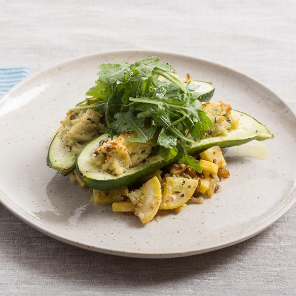 Couscous-Stuffed Zucchini with Goat Cheese & Summer Squash Salad