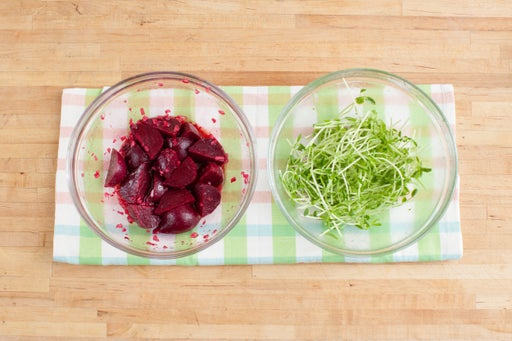 Dress the beets & pea shoots: