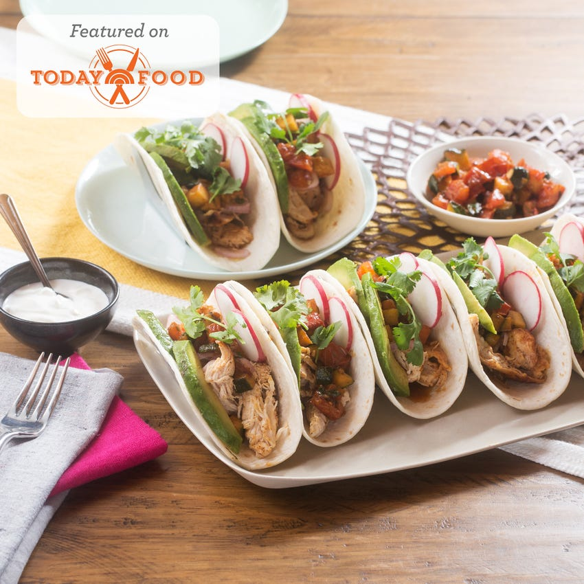 Chicken Tinga Tacos with Summer Squash & Tomato Salsa