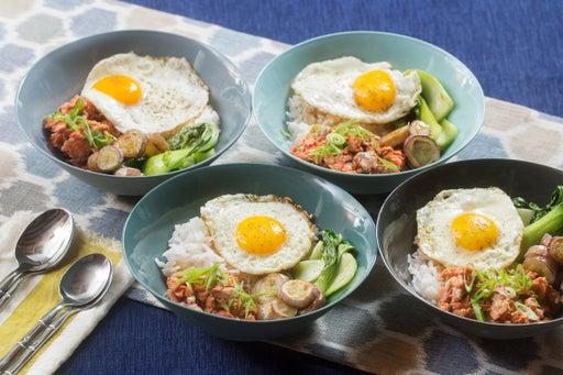 Sesame-Hoisin Salmon & Rice Bowls with Fairy Tale Eggplants & Sunny Side-Up Eggs