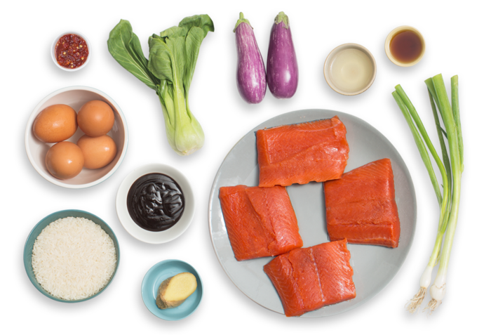 Sesame-Hoisin Salmon & Rice Bowls with Fairy Tale Eggplants & Sunny Side-Up Eggs ingredients