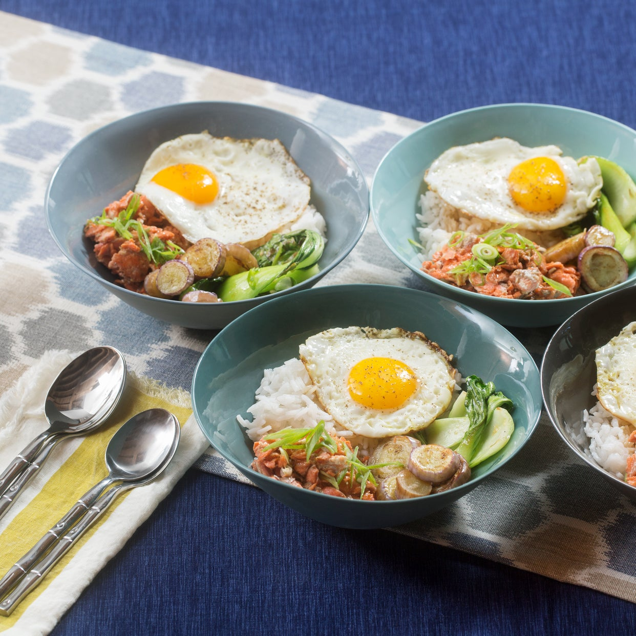 Sesame-Hoisin Salmon & Rice Bowls with Fairy Tale Eggplants & Sunny Side-Up Eggs