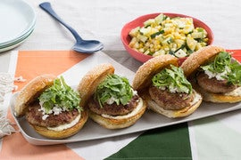 Spiced Pork Burgers with Goat Cheese & Cucumber-Corn Salad