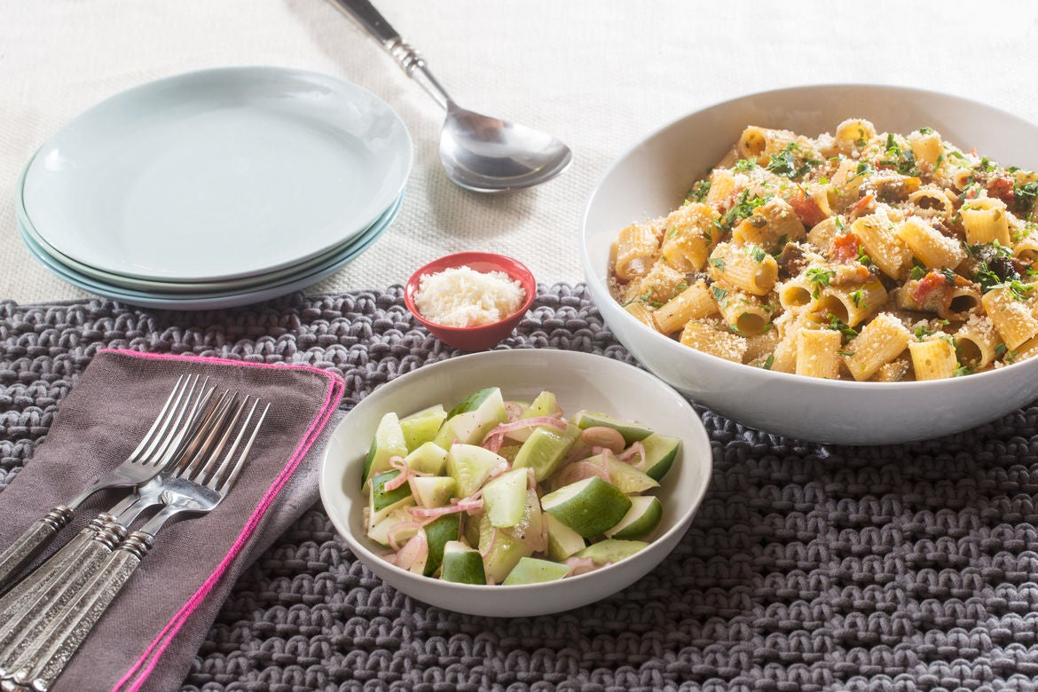 Eggplant & Rigatoni Pasta Puttanesca with Capers, Cherry Tomatoes & Cucumber Salad