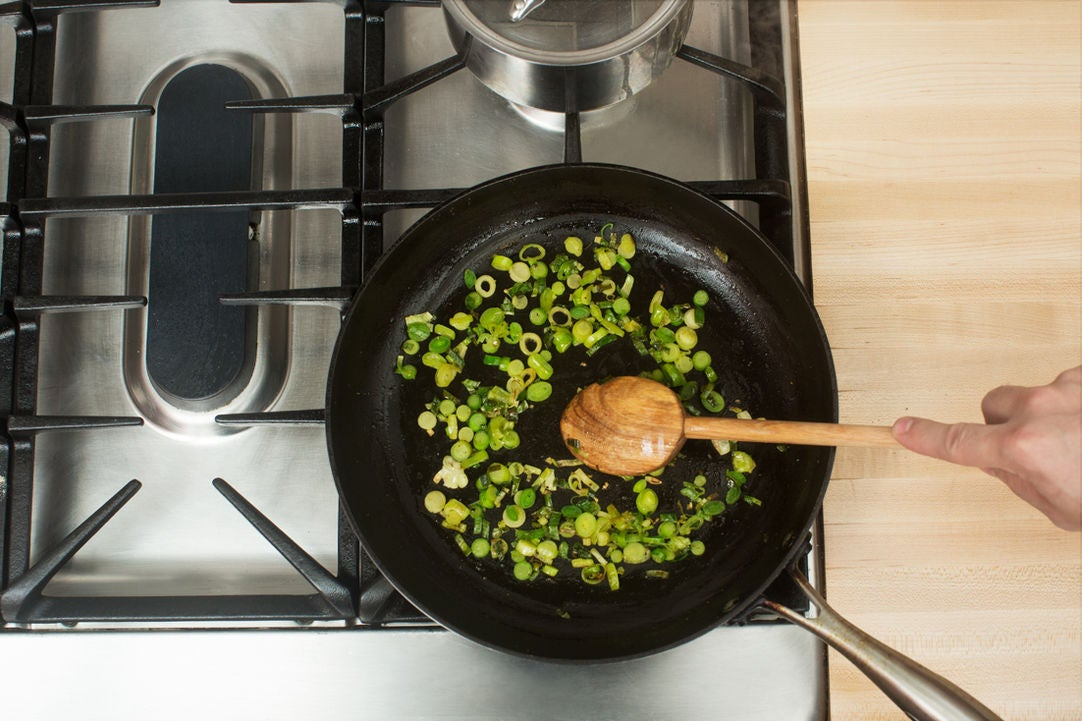 Cook the scallions: