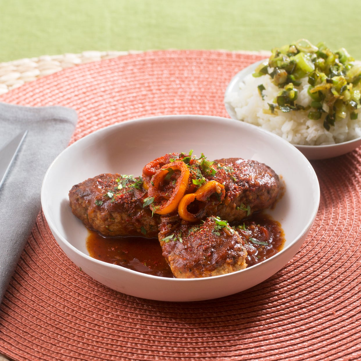 Basque-Style Lamb & Beef Piperade with Sweet Peppers & Garlic Rice