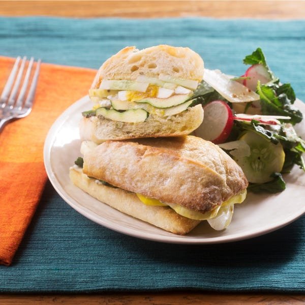 Pan Bagnat-Style Sandwiches with Patty Pan Squash & Baby Kale Salad