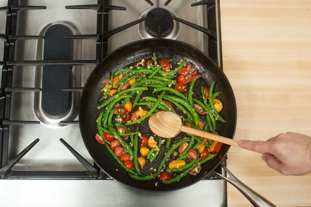 Cook the vegetables & plate your dish: