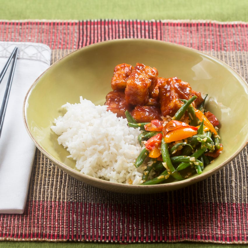 Spicy Sweet & Sour Tofu with Sesame Green Beans & Cherry Tomatoes