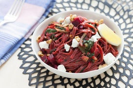 Fresh Beet Pasta with Swiss Chard, Goat Cheese & Walnuts