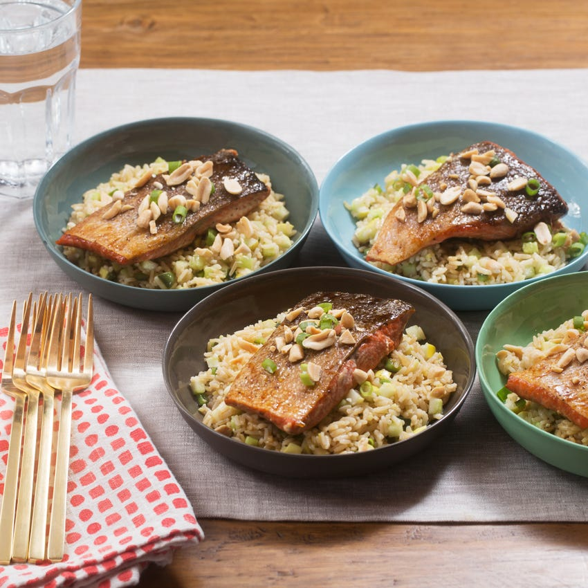 Teriyaki-Glazed Salmon with Brown Rice, Bell Pepper & Cucumber